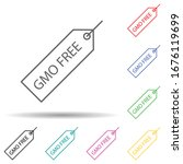 gmo free multi color set icon....