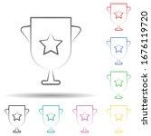 winner multi color set icon....
