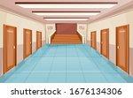 school corridor with doors and... | Shutterstock .eps vector #1676134306
