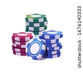 colored poker chips stacks.... | Shutterstock .eps vector #1676140333