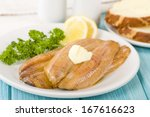 Stock photo smoked kippers butterfly smoked herring served with bread 167616623