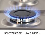 detail of gas burner with blue... | Shutterstock . vector #167618450