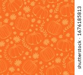 Pumpkin Orange Vector Seamless...
