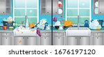 dirty and clean kitchen... | Shutterstock .eps vector #1676197120