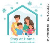 stay at home. family staying at ... | Shutterstock .eps vector #1676201680