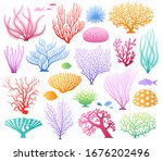 vector set of corals. bright... | Shutterstock .eps vector #1676202496