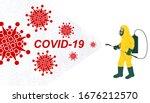 vector illustration fight covid ... | Shutterstock .eps vector #1676212570