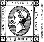 Italy Stamp (15 centesimi) from 1863, a small adhesive piece of paper stuck to something to show an amount of money paid, mainly a postage stamp, vintage line drawing or engraving illustration.