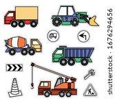 cartoon colored machines.... | Shutterstock .eps vector #1676294656