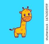 Cute Giraffe Vector Icon...