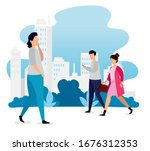 group of young people in... | Shutterstock .eps vector #1676312353