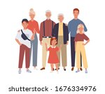 big family. father  mother ... | Shutterstock .eps vector #1676334976