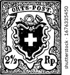 Switzerland Stamp (2-1/2 rappen) from 1850, a small adhesive piece of paper stuck to something to show an amount of money paid, mainly a postage stamp, vintage line drawing or engraving illustration.
