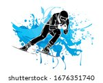 people skiing flat style design.... | Shutterstock .eps vector #1676351740