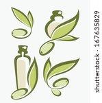 Green Olive  Leaves  Bottles...