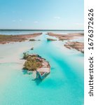 Aerial View Of Bacalar Lagoon ...