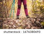 Hiking Girl In A Mountain. Low...