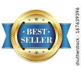 blue gold best seller badge... | Shutterstock .eps vector #167639396