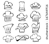 chef hats collection  cartoon... | Shutterstock .eps vector #167644916
