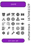 game icon set. 25 filled game icons. Included Armour, Sony, Cricket, Tennis, Panorama, Hockey, Dartboard, Abc, Balls, Jumping rope, Billiard, Hockey pitch, Rugby, Slot machine icons