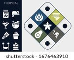 tropical icon set. 13 filled... | Shutterstock .eps vector #1676463910