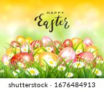 easter theme with red  pink and ... | Shutterstock . vector #1676484913