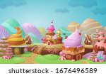 colorful candy town landscape... | Shutterstock .eps vector #1676496589