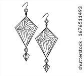 jewelry earrings fashion black...   Shutterstock .eps vector #1676511493