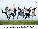 happy teen girls having good... | Shutterstock . vector #167652740