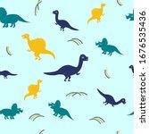 Dino Seamless Pattern  Vector...
