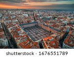 Madrid plaza Mayor aerial view with historical buildings in Spain.