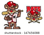 baseball rats mascot - stock vector
