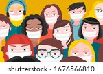 crowd of people with surgical... | Shutterstock .eps vector #1676566810
