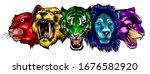 set of stylized feline heads on ... | Shutterstock .eps vector #1676582920