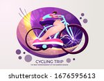 young athletic man riding a two ... | Shutterstock .eps vector #1676595613