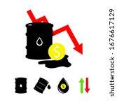 vector set of 5 sign oil. black ... | Shutterstock .eps vector #1676617129