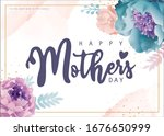 mother's day greeting card with ... | Shutterstock .eps vector #1676650999