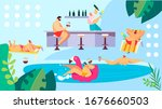 people relaxing at pool near... | Shutterstock .eps vector #1676660503