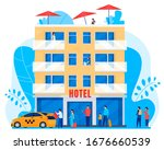 people arrive to hotel  men and ... | Shutterstock .eps vector #1676660539