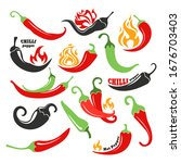 hot chilli pepper in fire icons ...   Shutterstock .eps vector #1676703403