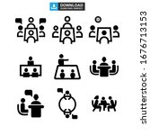 meeting icon or logo isolated... | Shutterstock .eps vector #1676713153