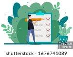 planning on the calendar. date. ... | Shutterstock .eps vector #1676741089