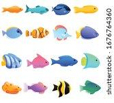 ichthyology icons set. cartoon...   Shutterstock .eps vector #1676764360