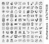 doodle shopping icons set | Shutterstock .eps vector #167679038