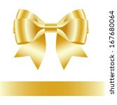 single golden gift bow with one ... | Shutterstock .eps vector #167680064