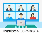 online virtual meetings  work... | Shutterstock .eps vector #1676808916
