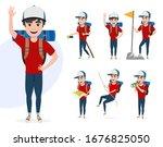 male mountain climber vector...   Shutterstock .eps vector #1676825050