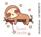 cute sloth bear cartoon sleep...   Shutterstock .eps vector #1676853073