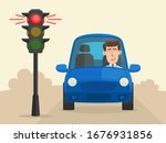 the car stopped at a red... | Shutterstock .eps vector #1676931856