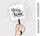 stay home. stop coronavirus.... | Shutterstock .eps vector #1676934109